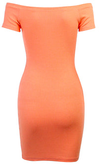 Turn Your Love Around Ribbed Cap Sleeve Off The Shoulder V Neck Snap Bodycon Casual Mini Dress