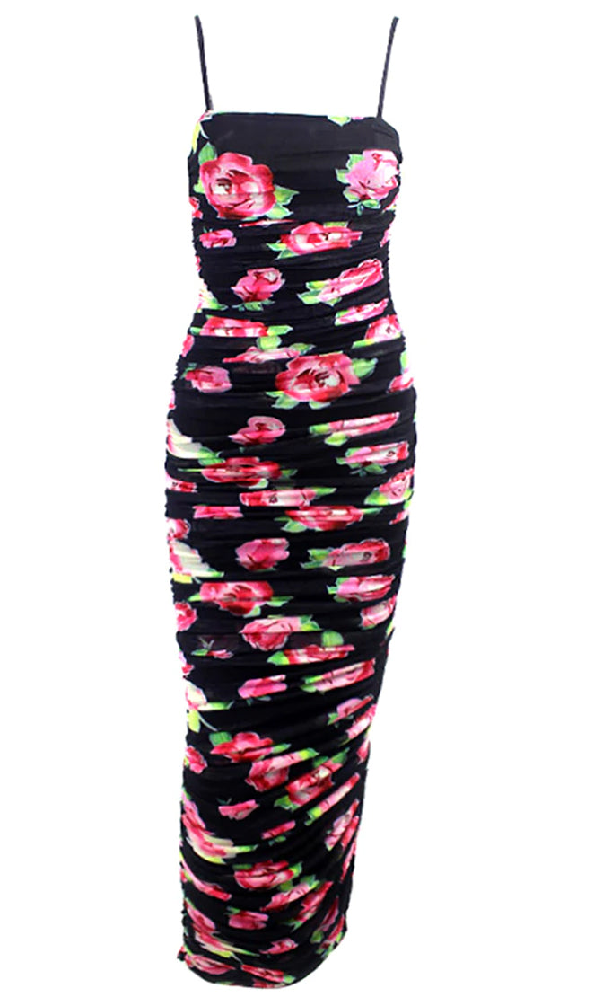 Blow Me A Kiss Black Red Floral Pattern Mesh Sleeveless Spaghetti Strap Square Neck Ruched Bodycon Side Slit Midi Dress