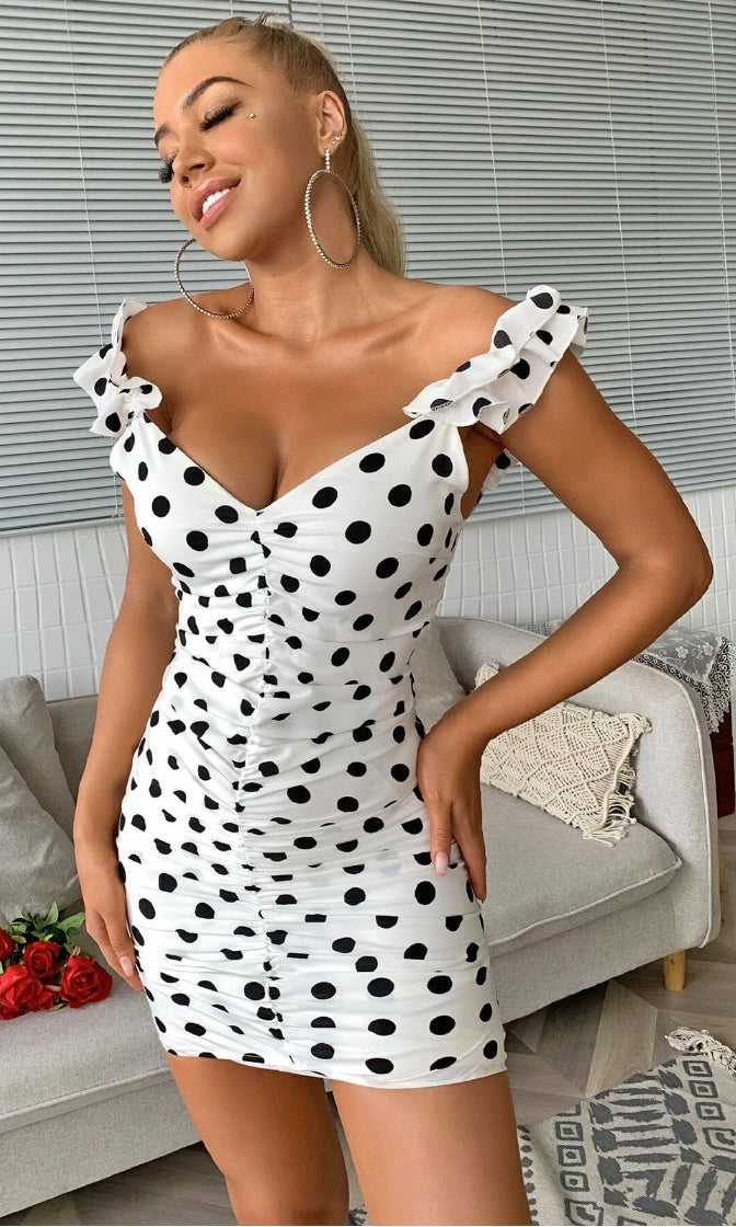 All I Ask For White Black Polka Dot Pattern Ruffle Off The Shoulder V Neck Ruched Casual Bodycon Mini Dress