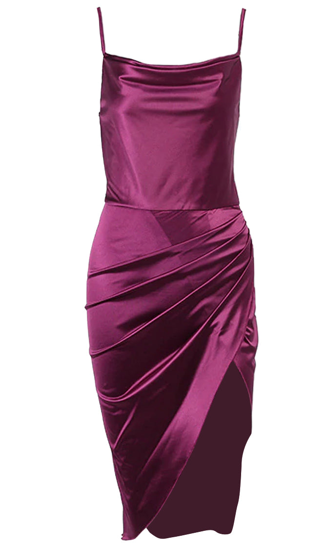 Don't Leave Me Satin Sleeveless Spaghetti Strap Drape Neck Ruched Side Split Midi Dress