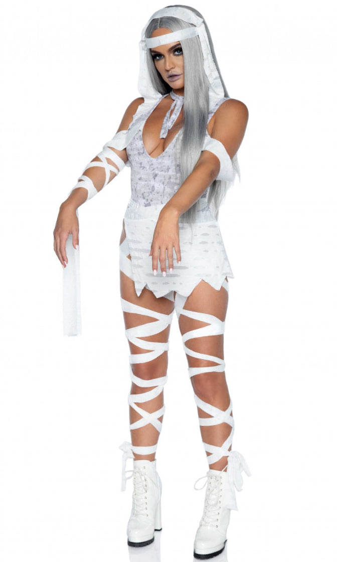 Mum's The Word White Sleeveless Plunge V Neck Bodysuit Mini Skirt 3 Piece Halloween Costume