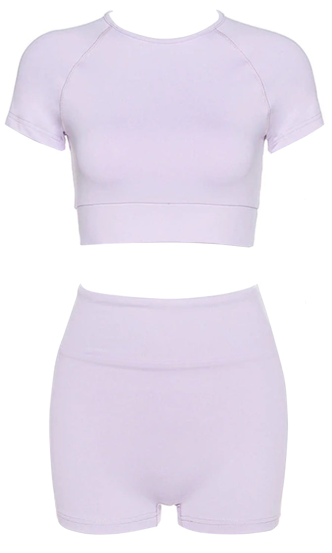 Live To Lounge Short Sleeve Crew Neck Crop Top Bodycon High Waist Short Romper Two Piece Set