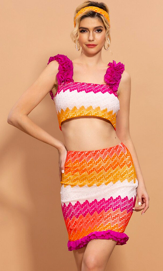 Loud And Clear Multicolor Zig Zag Stripe Pattern Sleeveless Ruffle Crop Top Bodycon Two Piece Casual Mini Dress