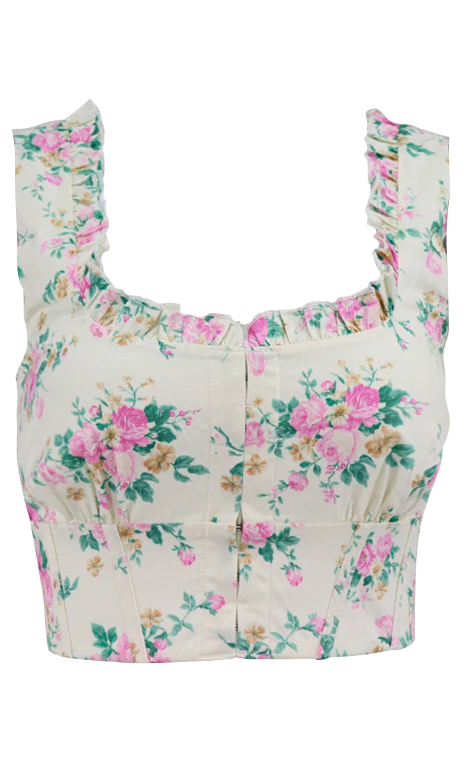Pink Peony Yellow Floral Pattern Sleeveless Ruffle Scoop Neck Crop Top Blouse