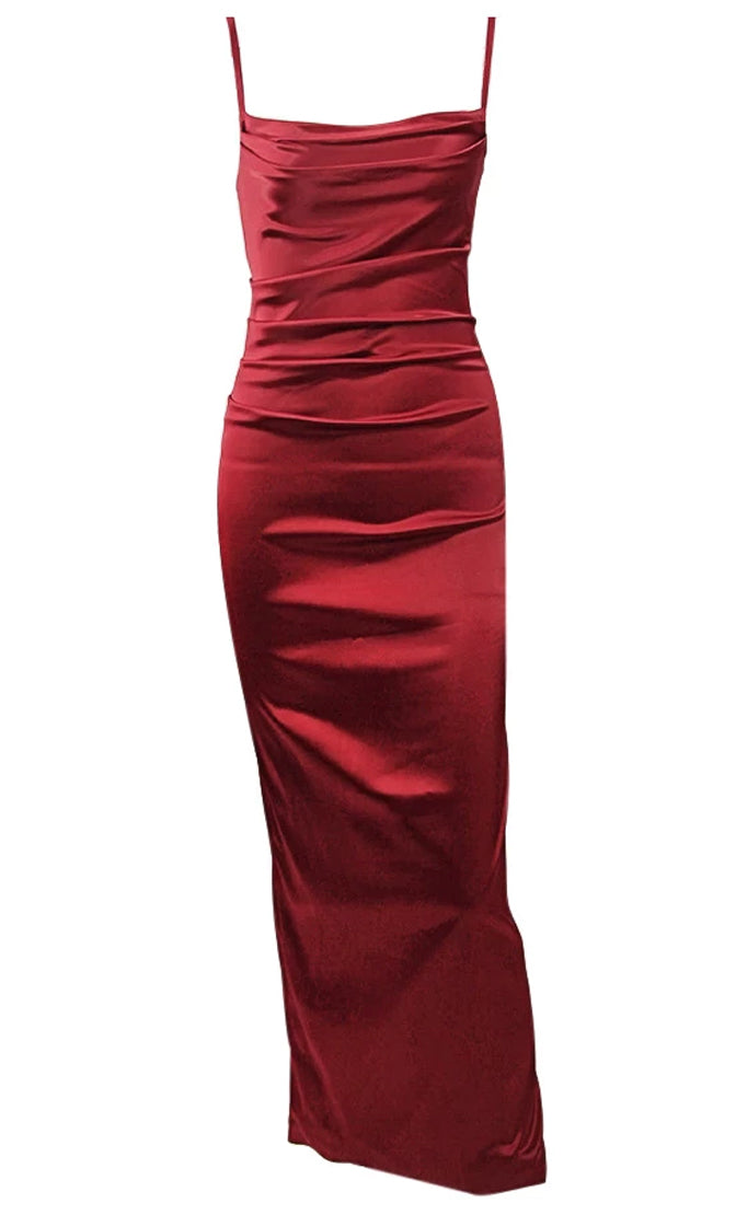 Festive Delights Red Satin Sleeveless Spaghetti Strap Slip Midi Pencil Open Back Dress