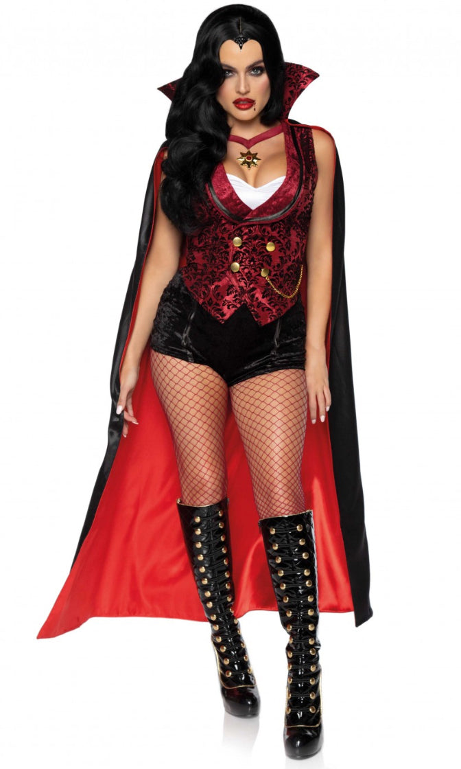 Biting Back Black Red Velvet Brocade Sleeveless Vest Shorts Cape 4 Piece Halloween Costume