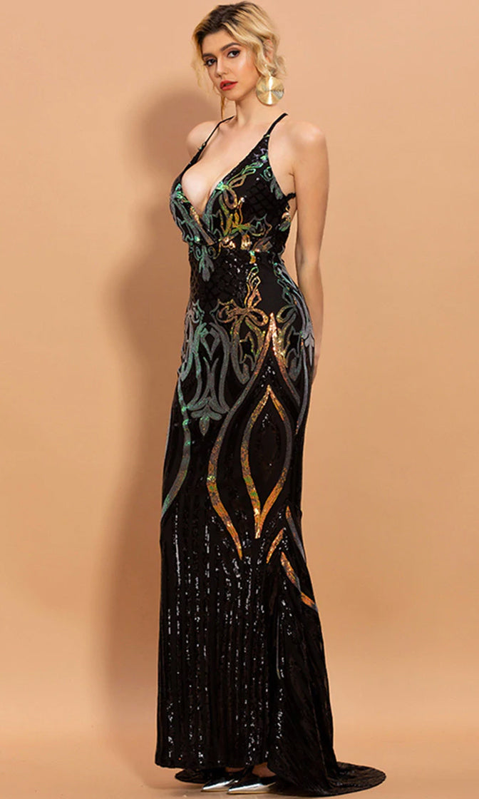 Ahead Of Everyone Sequin Geometric Pattern Sleeveless Spaghetti Strap Backless Mermaid Maxi Dress - 2 Colors Available