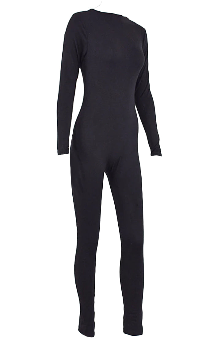 Bottom Line Long Sleeve Round Neck Bodycon Lounge Jumpsuit - 2 Colors Available