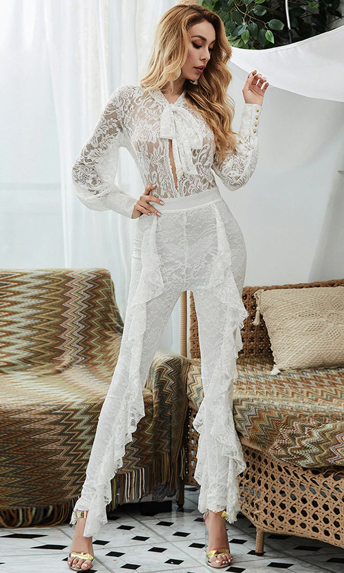 Your Time White Sheer Mesh Lace Long Sleeve Bow Neck Cut Out Ruffle Skinny Jumpsuit