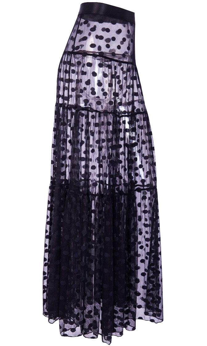 Islands Of Capri Sheer Mesh Band Polka Dot A Line Tiered Maxi Skirt - 2 Colors Available