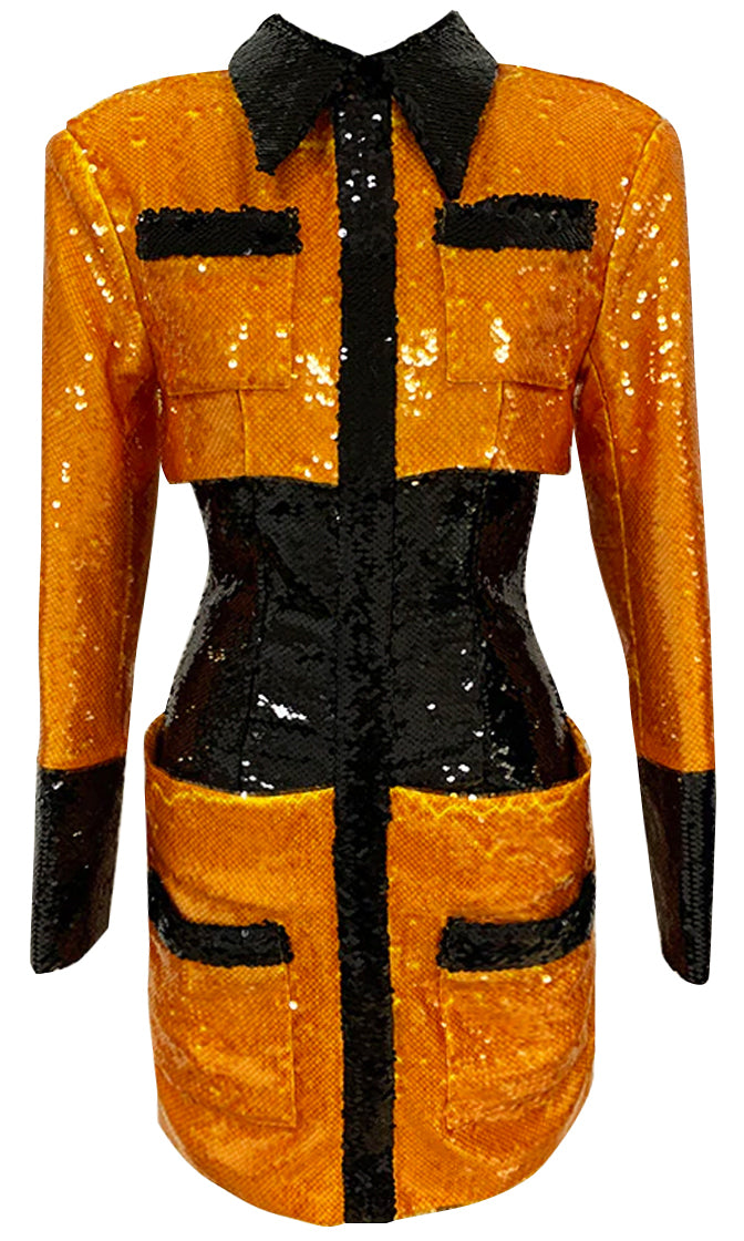 Taking Pride Orange Black Sequin Colorblock Long Sleeve Collar Bodycon Mini Dress