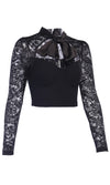Devilish Smile Black Sheer Mesh Lace Long Sleeve Bow V Neck Cut Out Crop Top Blouse