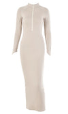 Best Choice Long Sleeve Mock Neck Zipper Bodycon Maxi Dress - 2 Colors Available