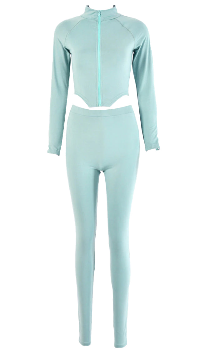 Feeling Energetic Mint Long Sleeve Mock Neck Zip Track Jacket Zipper Ankle Legging Two Piece Skinny Jumpsuit