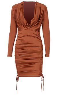 Just For Love Rust Orange Long Sleeve Plunge V Neck Ruched Drawstring Bodycon Mini Dress