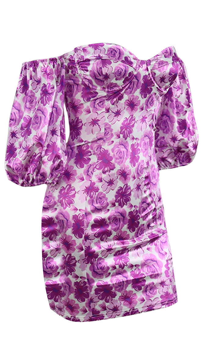 On Demand Floral Pattern Short Puff Sleeve Off The Shoulder V Neck Bodycon Mini Dress - 2 Colors Available