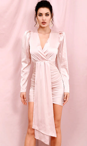 Like A Boss White Long Puff Sleeve V Neck Lapel Button Bodycon Mini Dress