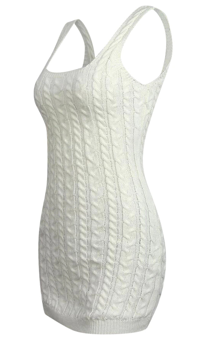 The Low Down White Sleeveless Square Neck Cable Knit Bodycon Casual Sweater Mini Dress