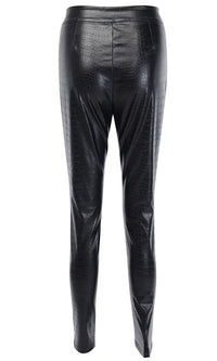 Saturday Night Feeling Black PU Faux Leather Crocodile Embossed High Waist Zip Front Legging Skinny Pant