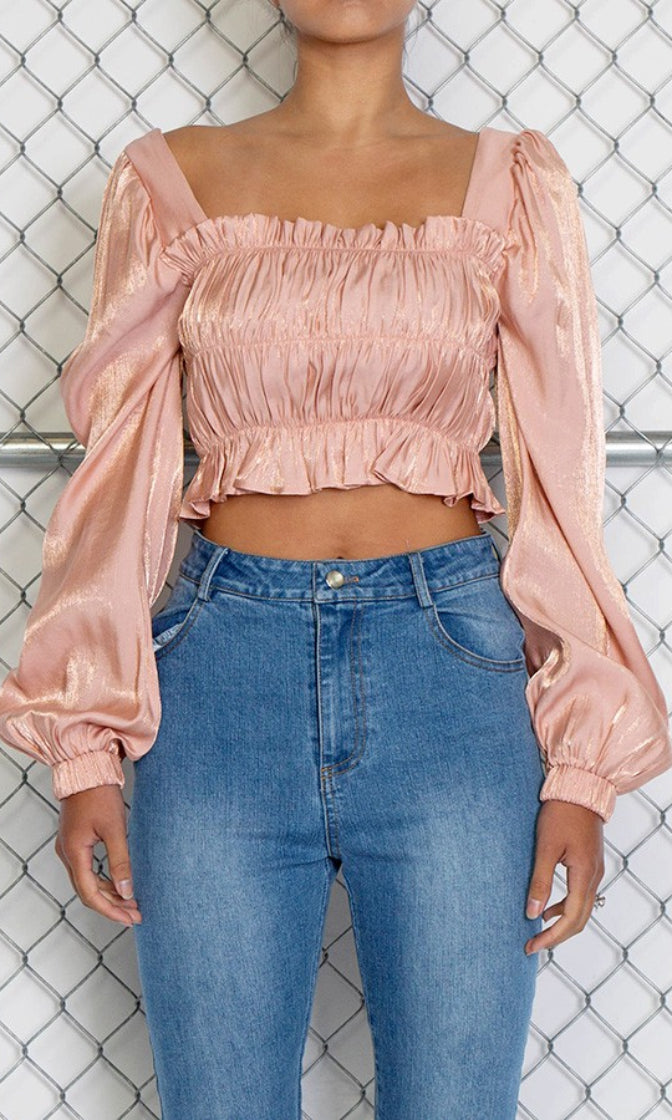 Waiting To Exhale Long Sleeve Puffed Shoulder Square Neck Smocked Crop Top Blouse - 3 Colors Available (Pre-Order)