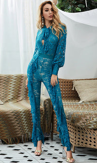 Your Time Blue Sheer Mesh Lace Long Sleeve Bow Neck Cut Out Ruffle Skinny Jumpsuit