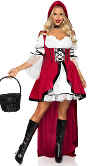In The Hood Red Black White Lace Sleeve Hooded Cape Flare A Line Mini Dress 2 Piece Halloween Costume