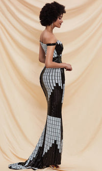 Creative Expression White Black Geometric Pattern Sequin Off The Shoulder Bodycon Mermaid Train Maxi Dress