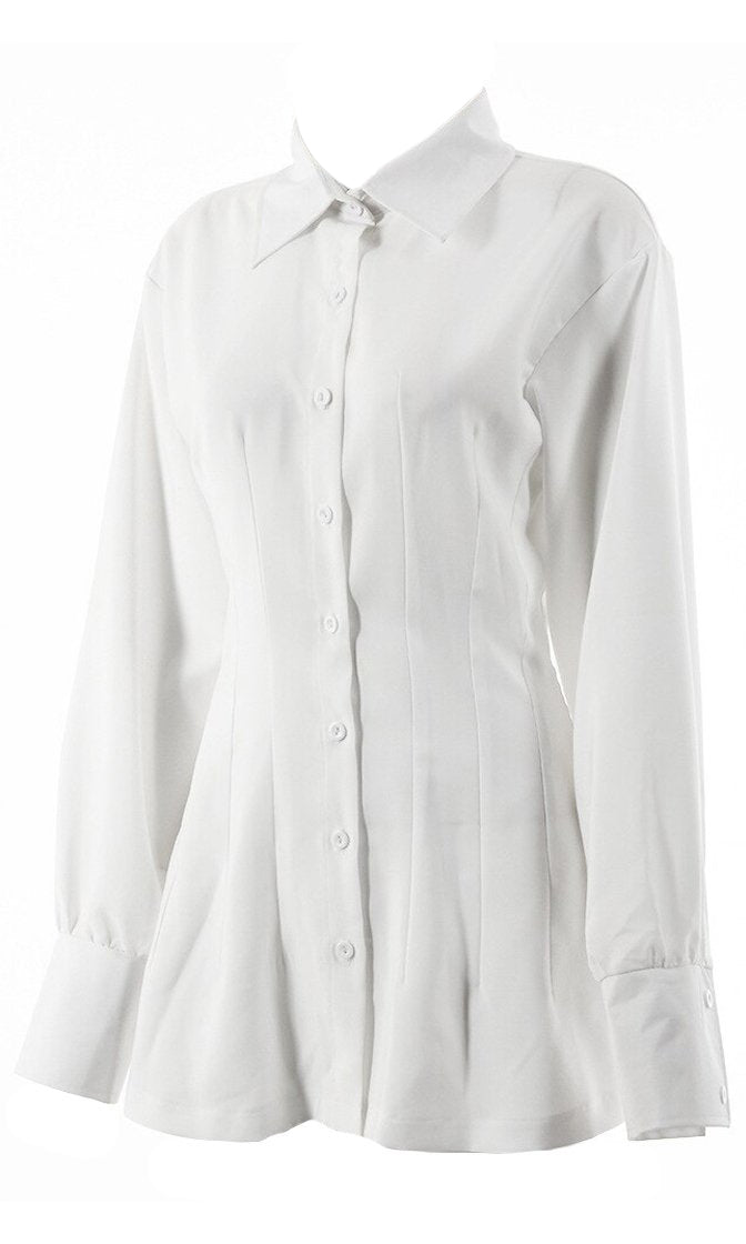 Challenge Accepted White Long Lantern Sleeve Button Front Pintucked Collar Shirt Blouse