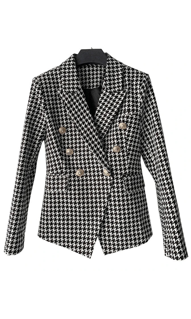 Running The Show Black White Houndstooth Long Sleeve Double Breasted Blazer Jacket Outerwear