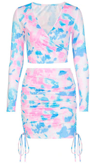 Impulsive Actions Blue Pink Tie Dye Pattern Long Sleeve Cross Wrap V Neck Crop Top Ruched Bodycon Two Piece Casual Mini Dress