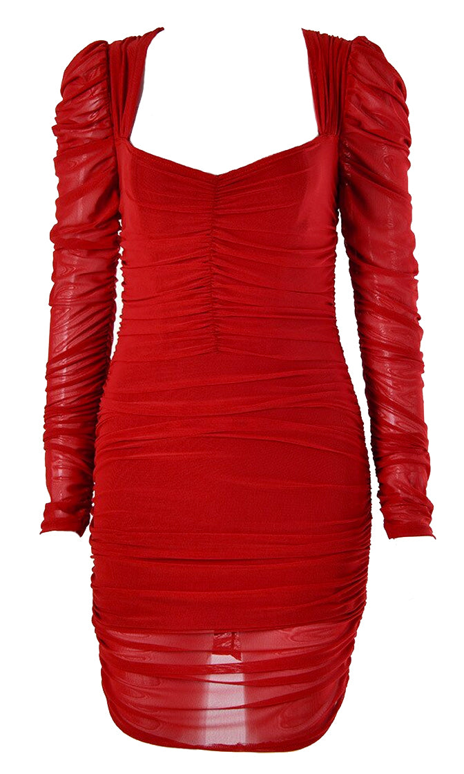Enjoying The Night Sheer Mesh Long Sleeve Puffed Shoulder V Neck Ruched Bodycon Mini Dress - 2 Colors Available