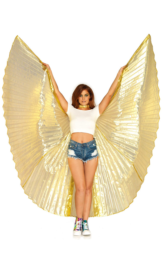 Flight Night Metallic Pleated Angel Wings - 3 Colors Available