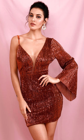 Instagram Queen Rose Gold Sequin Strapless Ruffle Bodycon Mini Dress