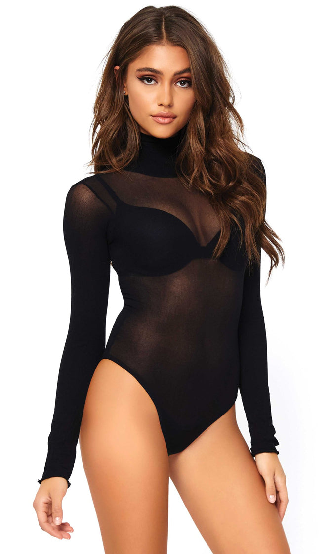 Hot In Here Statement Thick Turtleneck Long Sleeve Black Sheer Mesh Bikini Cut Bodysuit Top