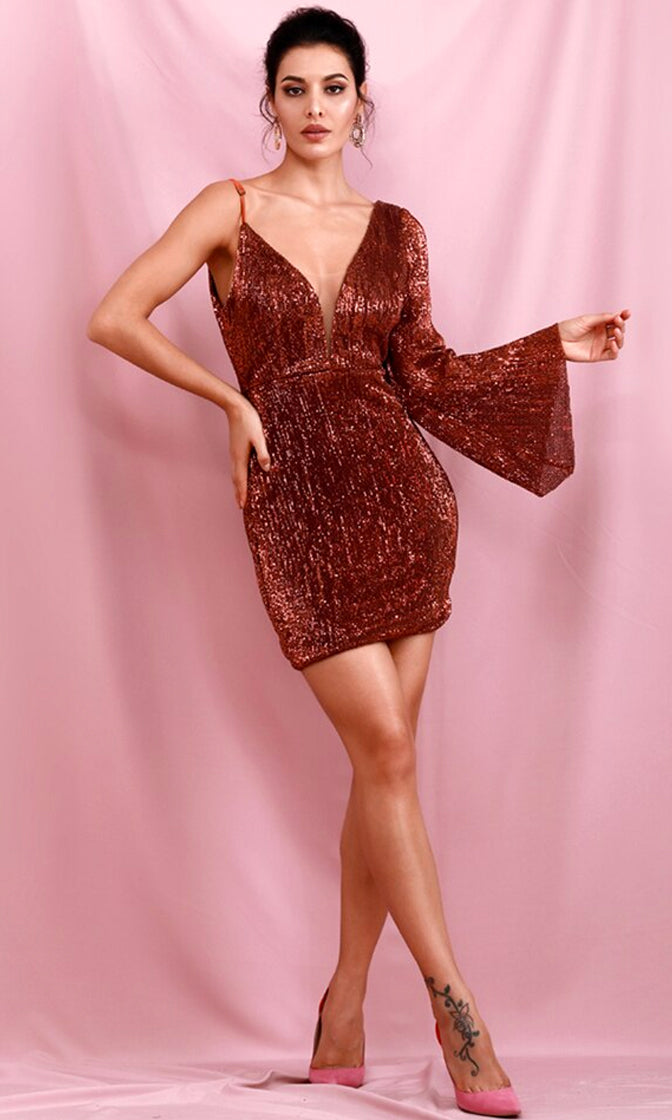 Above All Else Brown Sequin One Shoulder Long Flare Sleeve Spaghetti Strap Plunge V Neck Bodycon Mini Dress