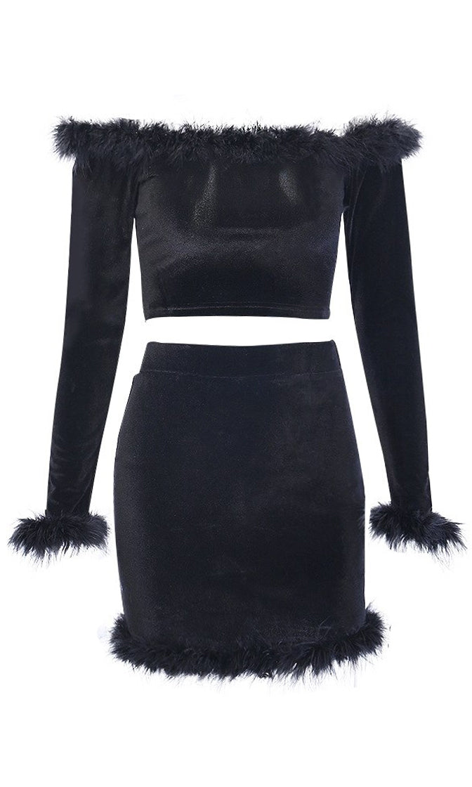 Party At My Place Black Velvet Faux Fur Long Sleeve Off The Shoulder Crop Top Bodycon Two Piece Mini Dress