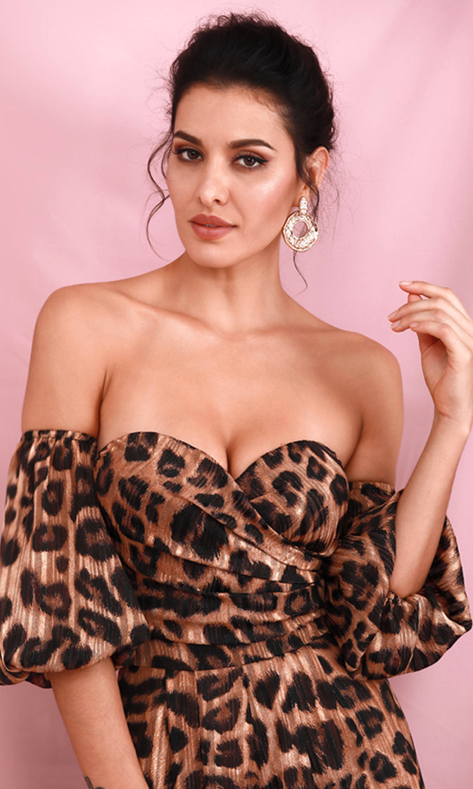 Don't Cage Me In Brown Strapless Puff 2/3 Elbow Long Sleeve Cheetah Leopard Animal Print Pattern Sweetheart Neckline Off The Shoulder Loose Leg Jumpsuit