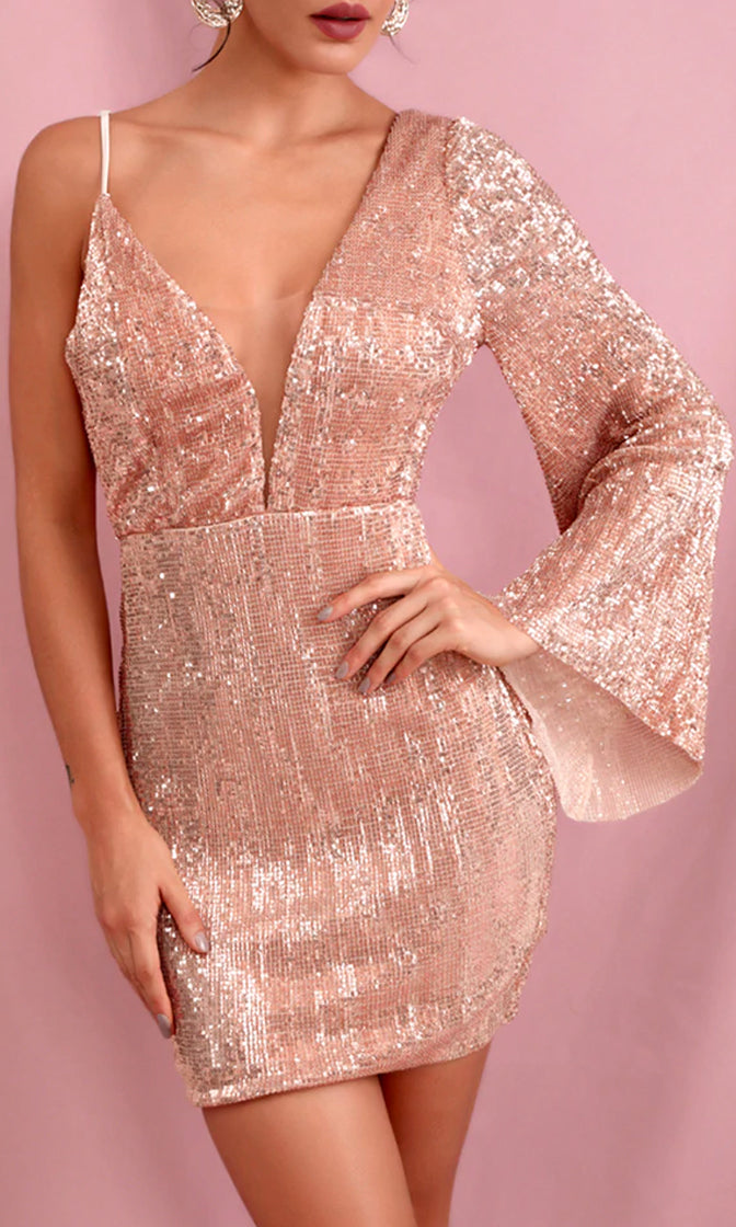 Above All Else Rose Gold Sequin One Shoulder Long Flare Sleeve Spaghetti Strap Plunge V Neck Bodycon Mini Dress