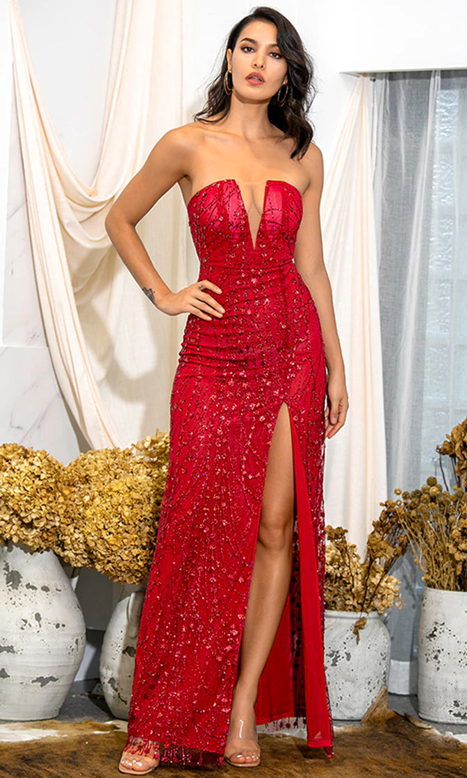 Ready For You Ruby Red Strapless Glitter Mesh Deep Sheer V Cut Out Neck High Slit Leg A Line Maxi Gown Dress