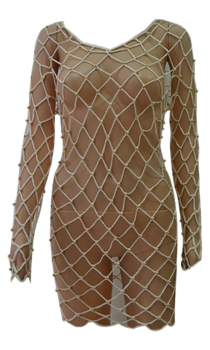 High Tide Sheer Fishnet Mesh Long Sleeve Boat Neck Beaded Cut Out Back Casual Mini Dress Beach Cover Up - 2 Colors Available