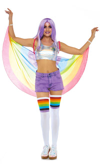 Flying With Pride Multicolor Rainbow Stripe Pattern Wings
