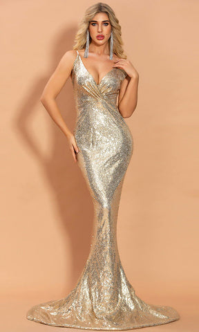 Glitzy Romance Rose Gold Sequin Sleeveless Mock Neck Backless Halter High Side Slit Maxi Dress