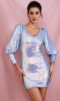 Beam Me Up Iridescent Blue Pink Sequin Stripe Pattern Puff 3/4 Sleeve Statement Cuff V Neck Mini Bodycon Dress