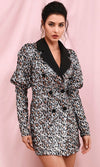 Puff Puff Silver Sequin Leopard Animal Pattern Long Sleeve Puffed Shoulder V Neck Button Blazer Bodycon Mini Dress