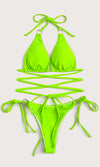 Posh In Paradise Neon Green Rhinestone Halter Cut Out Bikini Top Brazilian Two Piece Swimsuit