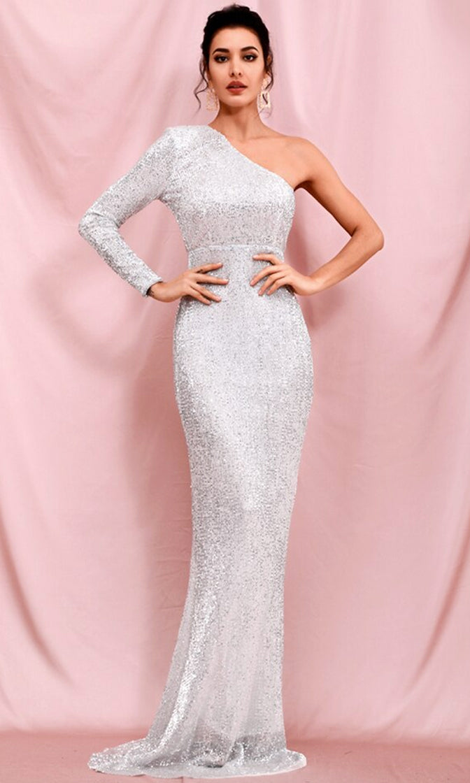 Ready To Live Silver Sequin One Shoulder Long Sleeve Bodycon Mermaid Maxi Dress