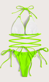 Atlantic City Attitude Neon Green Crisscross Spaghetti Strap Triangle Top O Ring Thong Bikini Two Piece Swimsuit