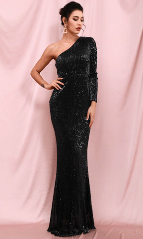 Like A Queen Sheer Mesh Sequin Geometric Pattern Long Sleeve Mock Neck Bodycon Maxi Dress - 3 Colors Available
