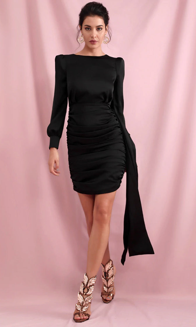 All This And More Black Long Sleeve Strong Shoulder Boat Neck Open Back Ruched Draped Sash Bodycon Mini Dress