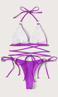 Atlantic City Attitude Neon Purple Crisscross Spaghetti Strap Triangle Top O Ring Thong Bikini Two Piece Swimsuit